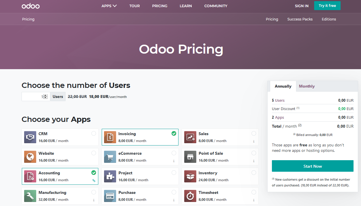Odoo12E License Pricing Accounting and Billing is free of charge