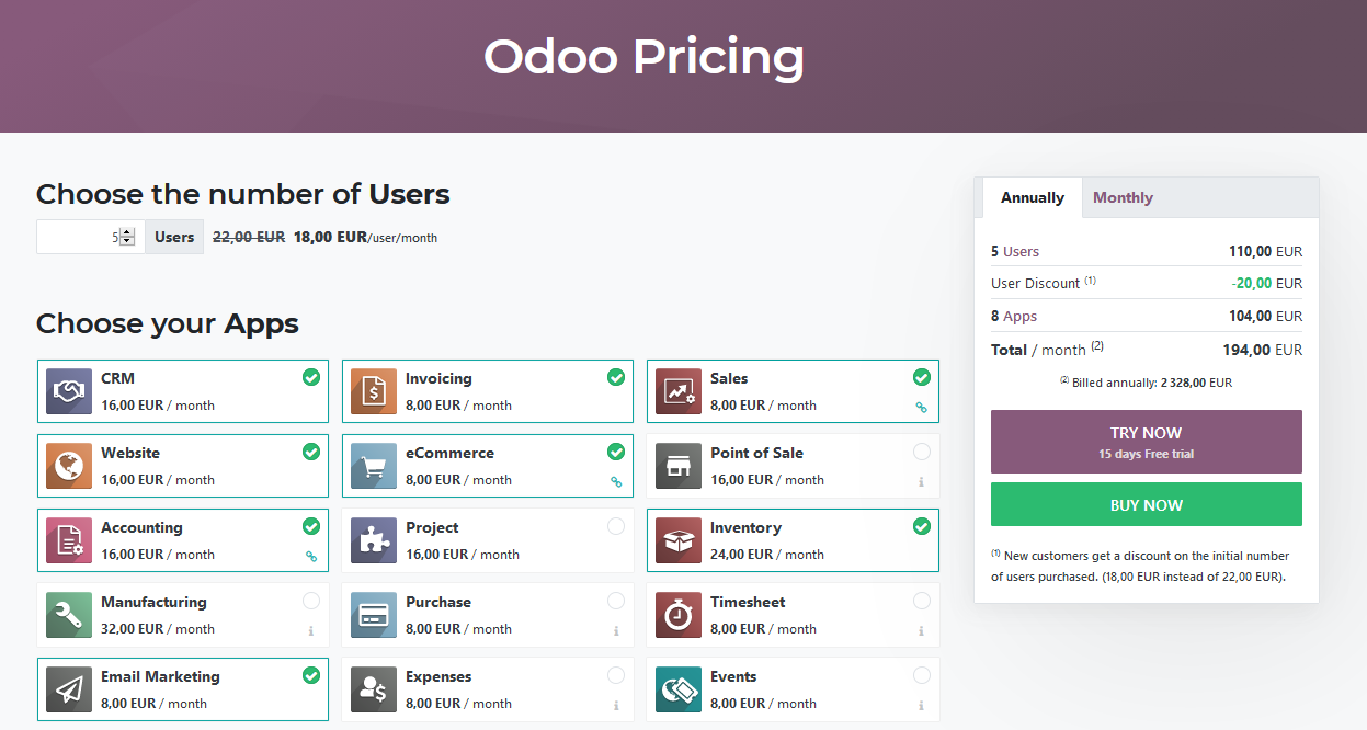 Odoo12E License Pricing ECommerce Business 5 Users